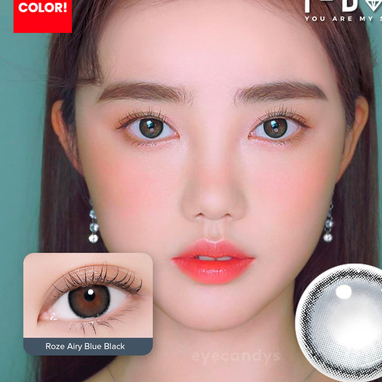 Buy i-DOL Roze Airy Blue Black Color Contacts | EyeCandys