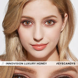 Load image into Gallery viewer, Innovision Luxury Honey colored contacts circle lenses - EyeCandy's