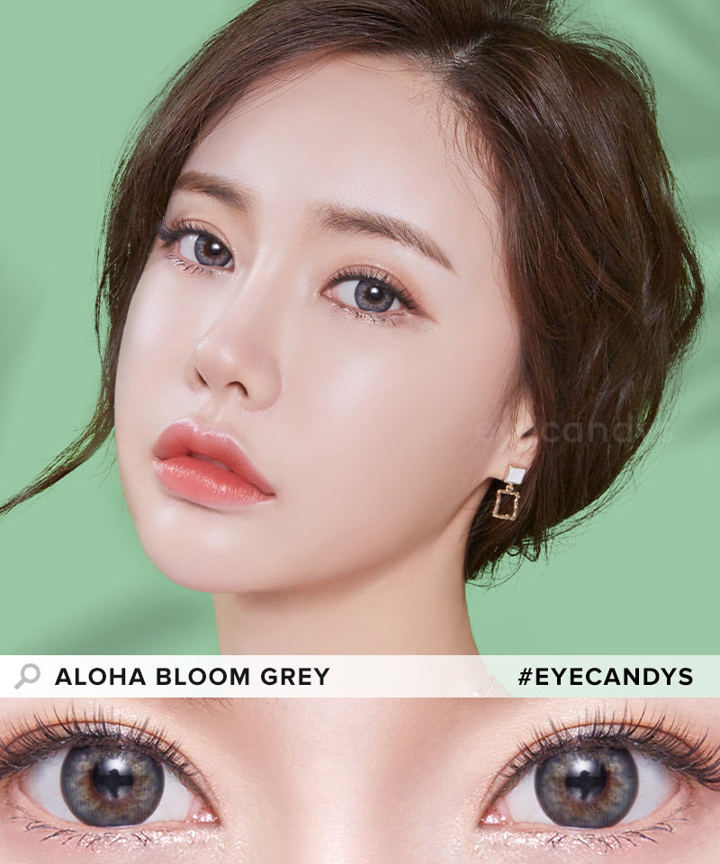 LensMe Aloha Bloom Grey colored contacts circle lenses - EyeCandy's