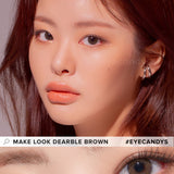 Load image into Gallery viewer, LensMe Make Look Dearble Brown colored contacts circle lenses - EyeCandy's