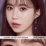 Load image into Gallery viewer, LensMe Velvet Pop Brown colored contacts circle lenses - EyeCandy's