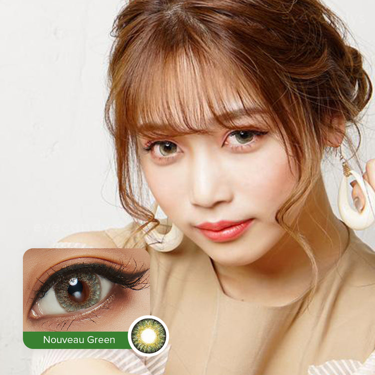 Buy EyeCandys Pink Label Nouveau Large Green Colour Contact Lenses | EyeCandys