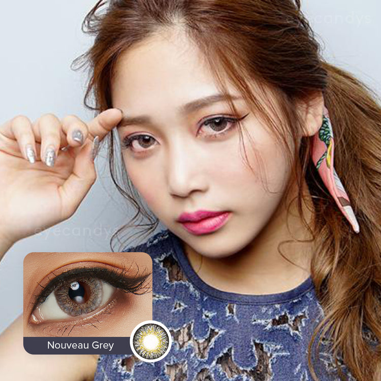Buy EyeCandys Pink Label Nouveau Large Grey Colour Contact Lenses | EyeCandys