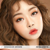 Load image into Gallery viewer, EyeCandys Pink Label Obsession Brown colored contacts circle lenses - EyeCandy's