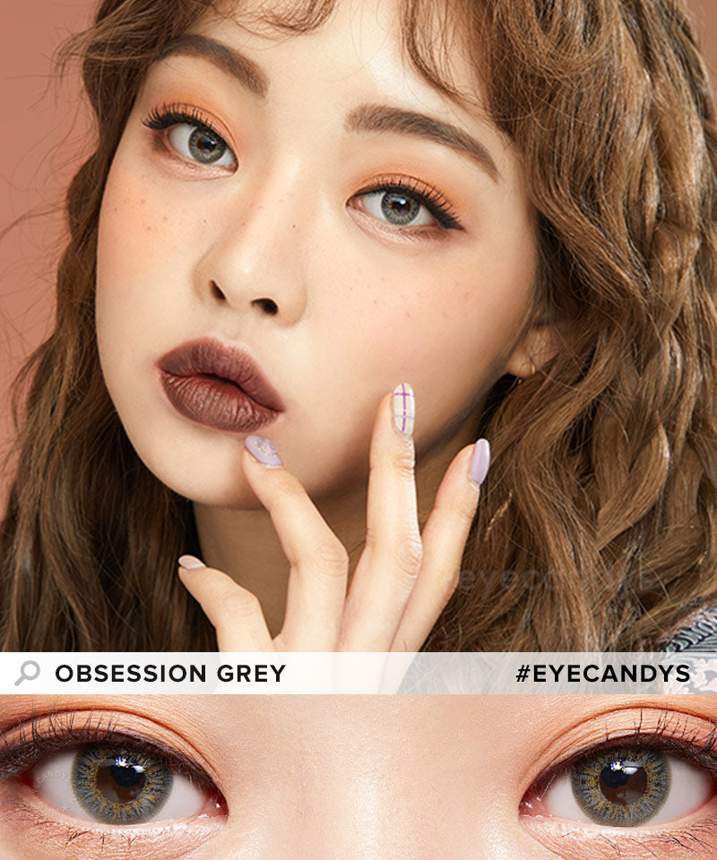 EyeCandys Pink Label Obsession Grey colored contacts circle lenses - EyeCandy's