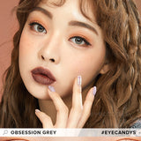 Load image into Gallery viewer, EyeCandys Pink Label Obsession Grey colored contacts circle lenses - EyeCandy's