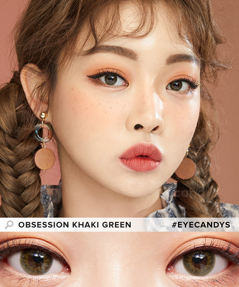 EyeCandys Pink Label Obsession Khaki Green colored contacts circle lenses - EyeCandy's