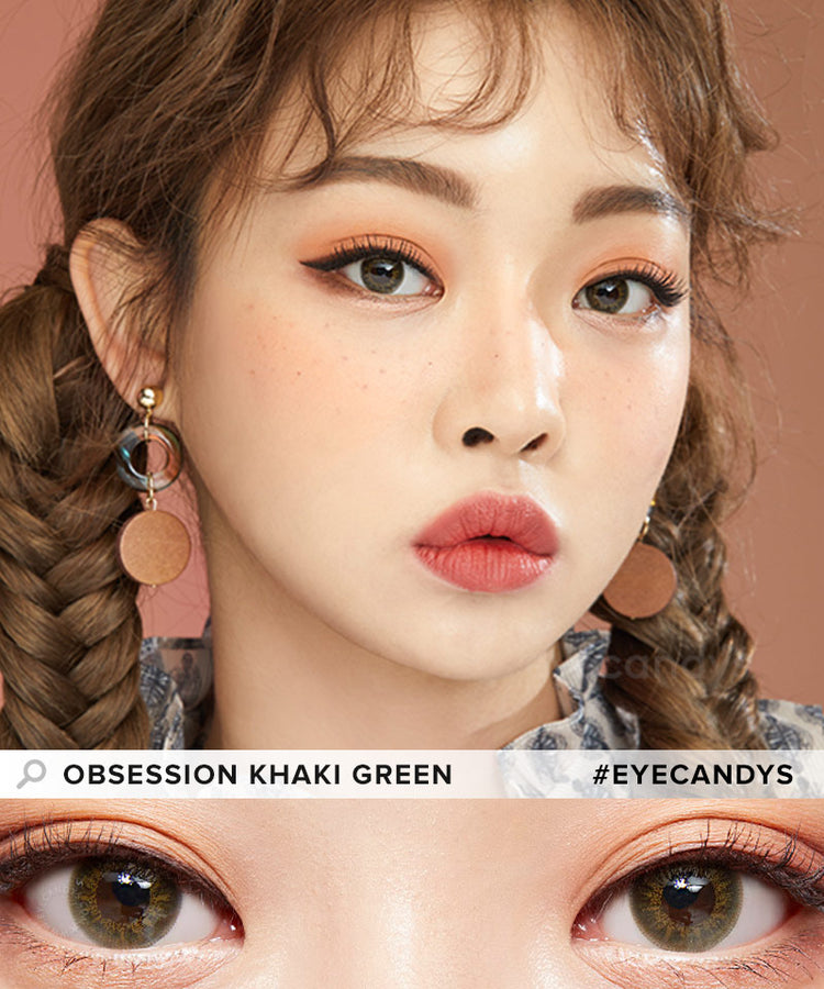 Buy EyeCandys Obsession Khaki Green Coloured Contacts | EyeCandys