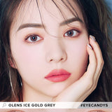 Olens Ice Gold Grey colored contacts circle lenses - EyeCandy's