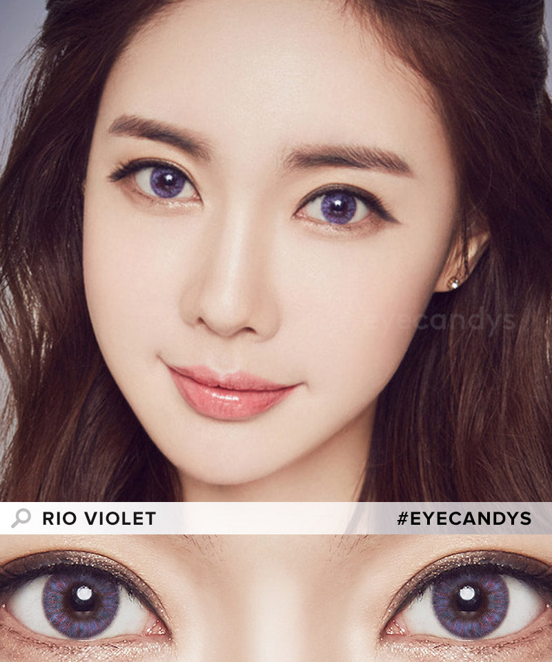 EyeCandys Pink Label Rio Grey Violet colored contacts circle lenses - EyeCandy's