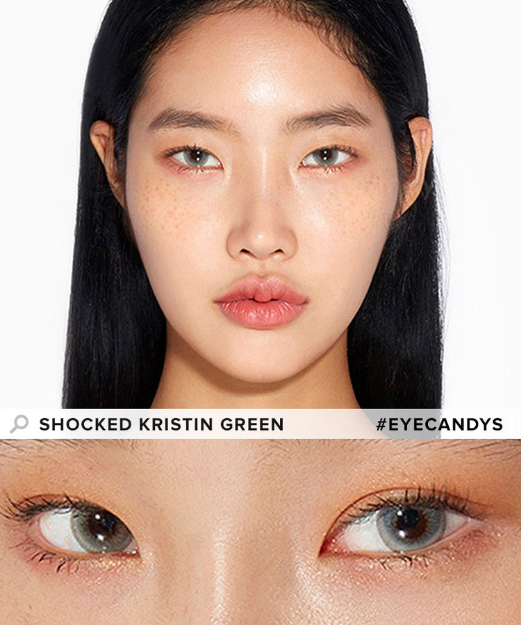 Buy Hapa Kristin Shocked Kristin Green Coloured Contact Lens | EyeCandys