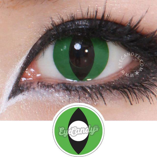 Non Prescription Colored Contacts >> Buy GEO Animation Green Snake Slit Eye Halloween Contacts | EyeCandys