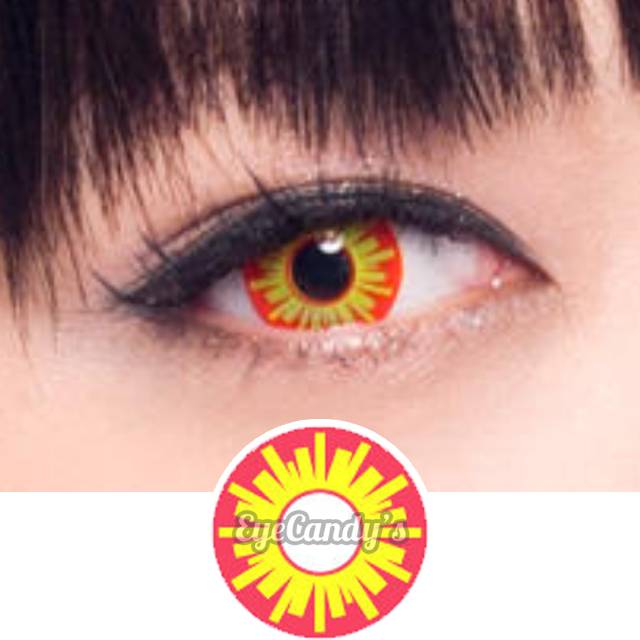 geo animation red yellow starburst colored contacts circle lenses eyecandys