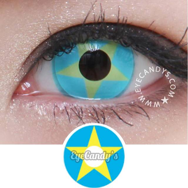 GEO Animation Yellow Blue Star colored contact lenses - EyeCandys