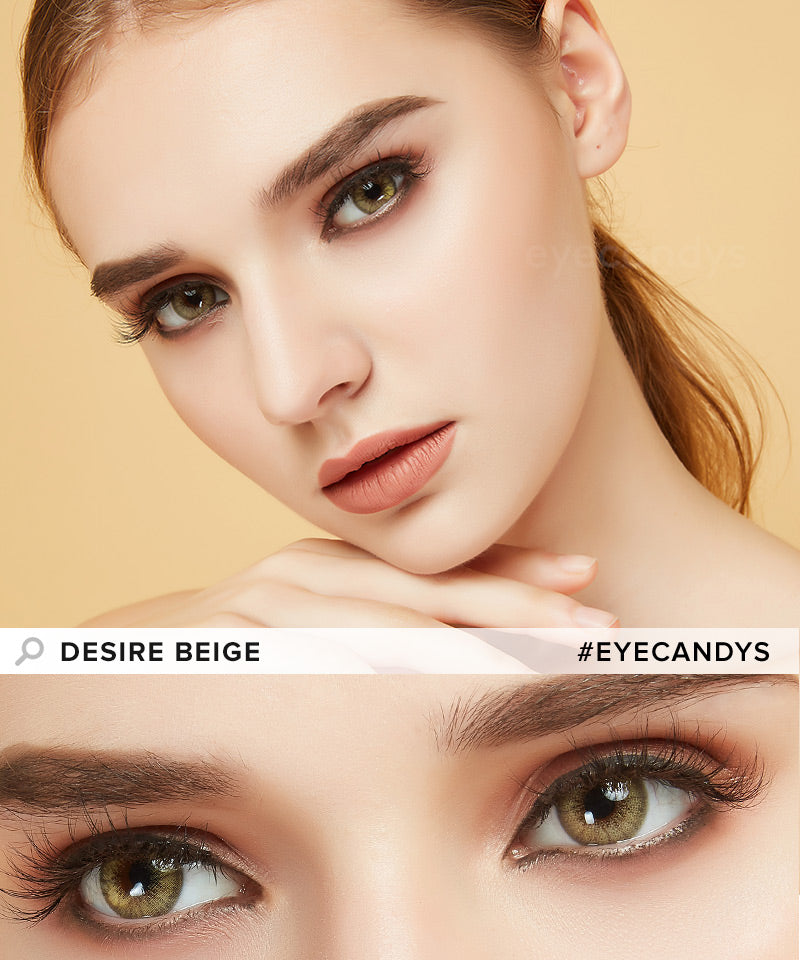 EyeCandys Desire Sandy Beige colored contacts circle lenses - EyeCandy's