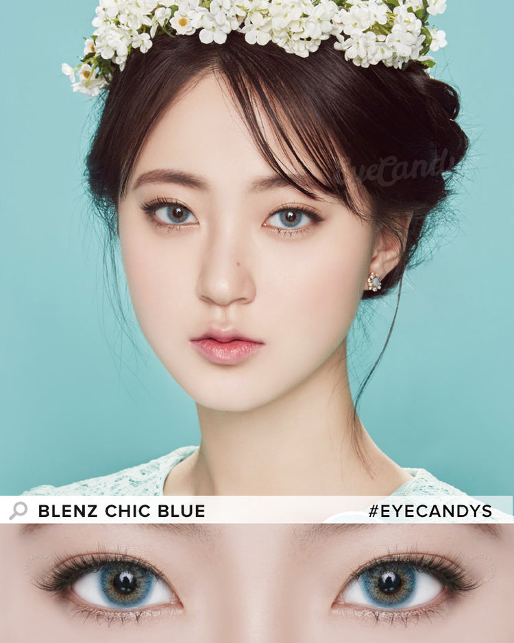 Buy GEO Chic Blue Prescription Coloured Contacts | EyeCandys