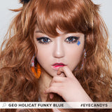 GEO Holicat Funky Cat Blue colored contacts circle lenses - EyeCandy's