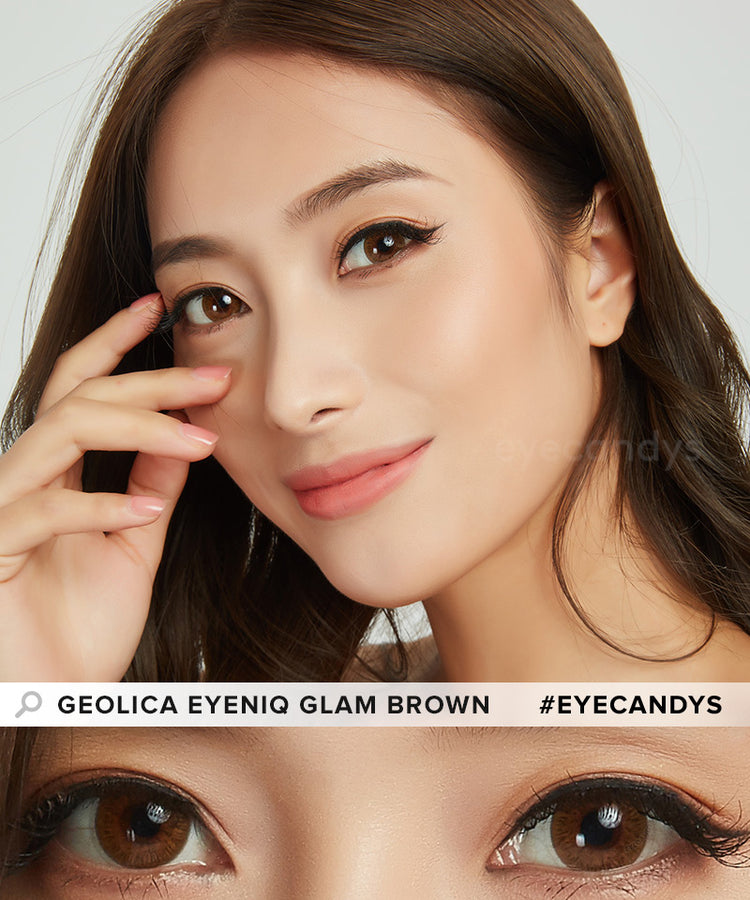 Buy GEO Eyeniq Glam Brown Coloured Contacts | EyeCandys