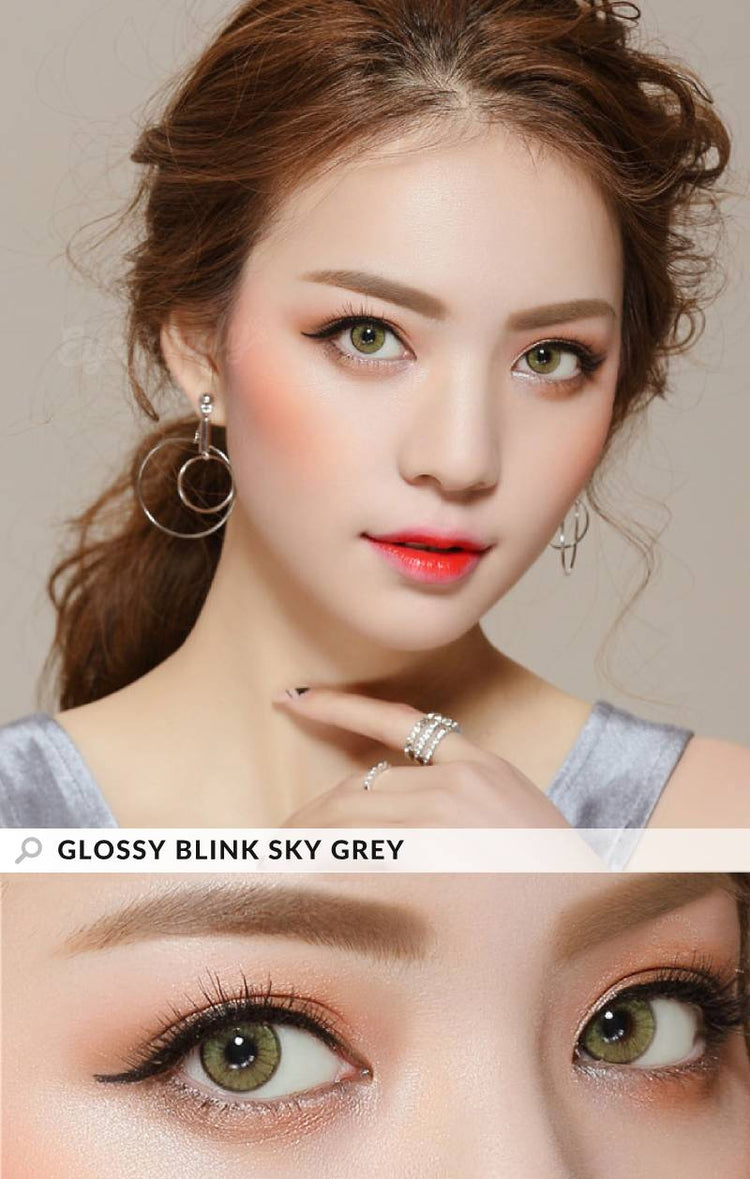Buy EyeCandy's Glossy Blink Sky Grey Colored Contacts | EyeCandys