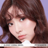 Load image into Gallery viewer, EyeCandys Glossy Coral Hazel colored contacts circle lenses - EyeCandy's
