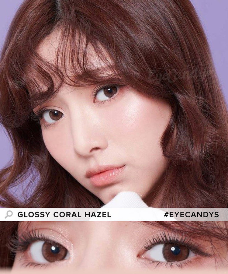 Buy EyeCandys Glossy Coral Hazel Color Contact Lenses | EyeCandys