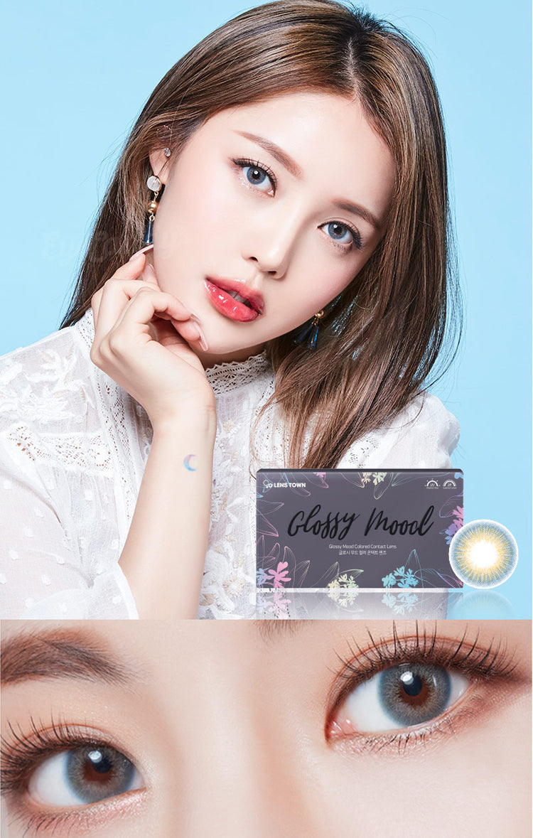 Buy Lenstown Glossy Mood Blue Prescription Colored Contacts | EyeCandys