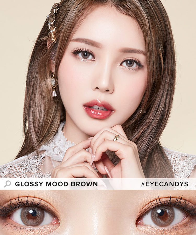 Buy Lenstown Glossy Mood Brown Prescription Colored Contacts | EyeCandys