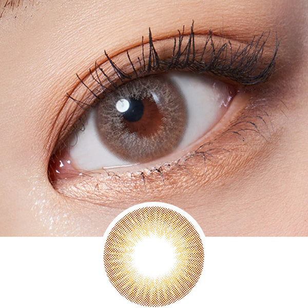 Lenstown Glossy Mood Brown colored contacts circle lenses - EyeCandy's