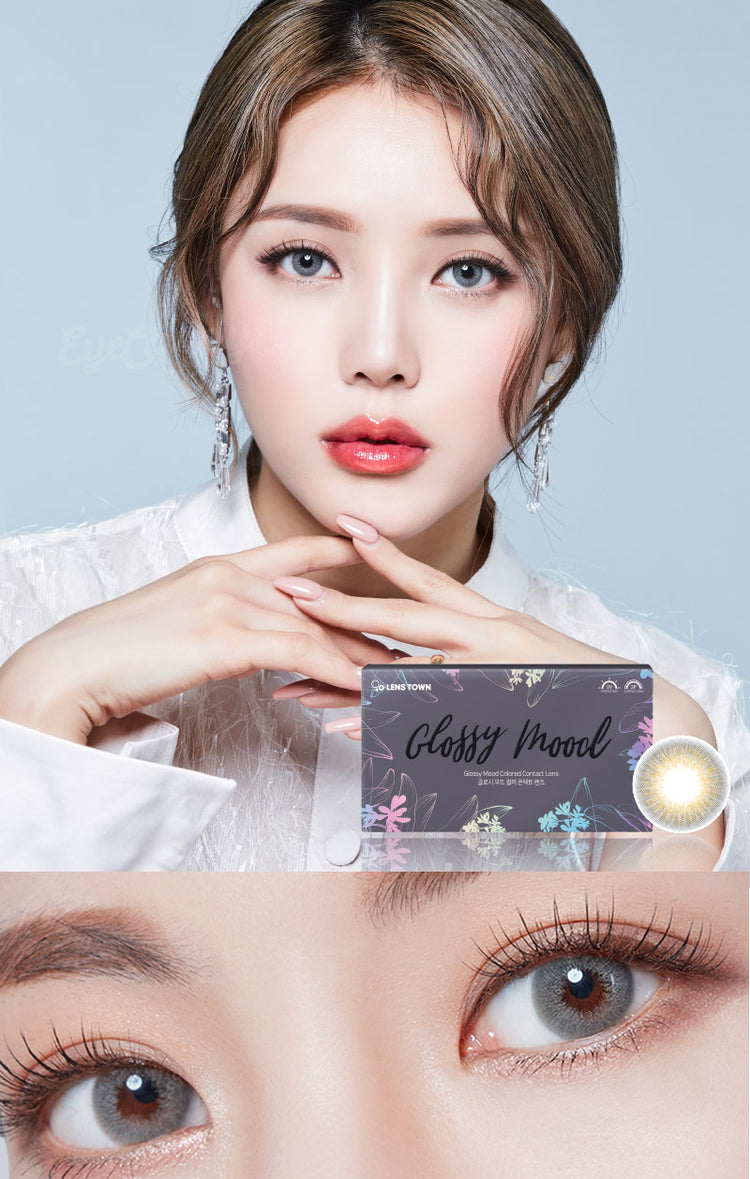 Buy Lenstown Glossy Mood Grey Prescription Colored Contacts | EyeCandys