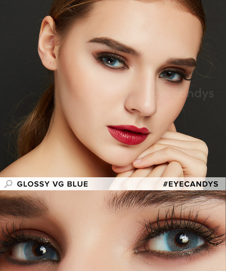 Buy EyeCandys Glossy VG Blue Contacts Without Prescription | EyeCandys