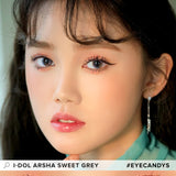 i-DOL Arsha Sweet Grey colored contacts circle lenses - EyeCandy's