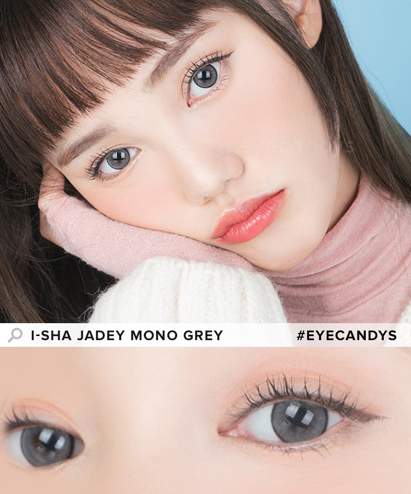 i-Sha Jadey Mono Grey colored contacts circle lenses - EyeCandy's