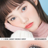 Load image into Gallery viewer, i-Sha Jadey Mono Grey colored contacts circle lenses - EyeCandy's