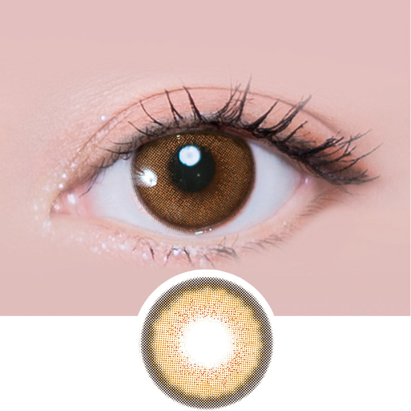 i-Sha Melo Art Almond Brown colored contacts circle lenses - EyeCandy's