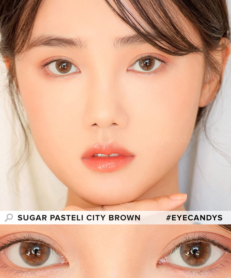 Buy i-DOL Sugar Pasteli City Brown Color Contacts | EyeCandys
