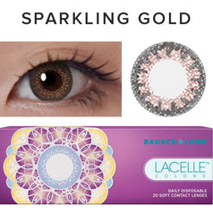 Bausch & Lomb Lacelle Colors Sparkling Gold (30 Pcs) 30 lenses/box - EyeCandy's
