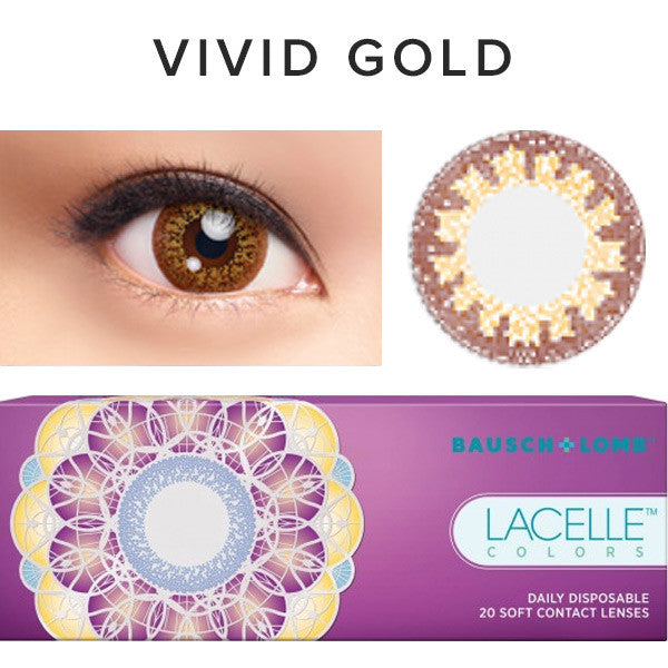 Bausch & Lomb Lacelle Colors Vivid Gold (30 Pcs) colored contacts circle lenses - EyeCandy's