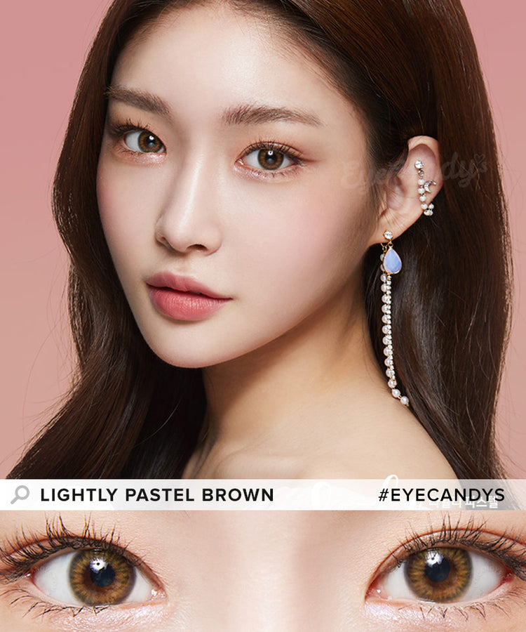 Buy Lenstown Lightly Pastel Brown Prescription Colored Contacts | EyeCandys