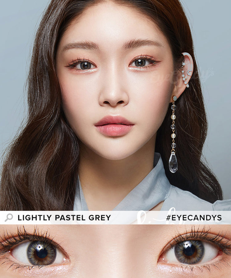Buy Lenstown Lighly Pastel Grey Prescription Colored Contacts | EyeCandys
