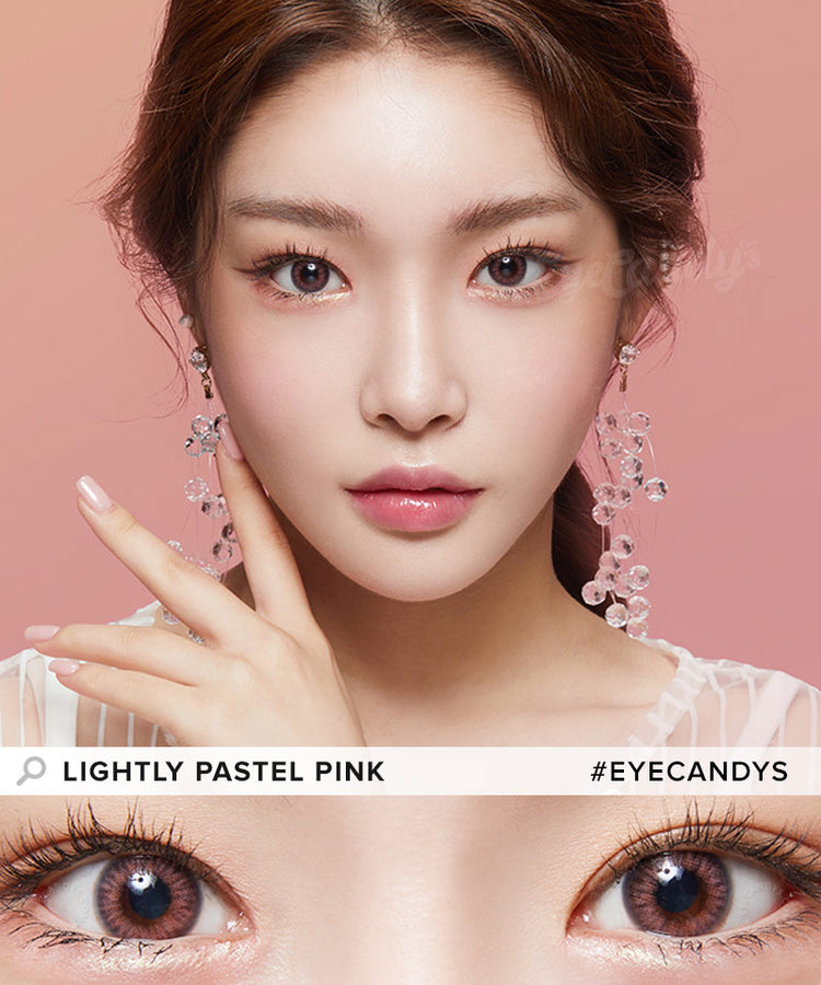 Buy Lenstown Lighly Pastel Pink Prescription Colored Contacts | EyeCandys