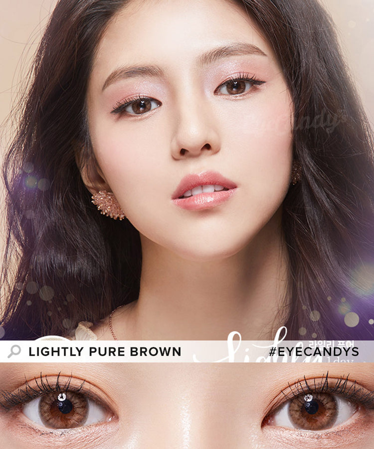 Buy Lenstown Lightly Pure Brown Prescription Colored Contacts | EyeCandys