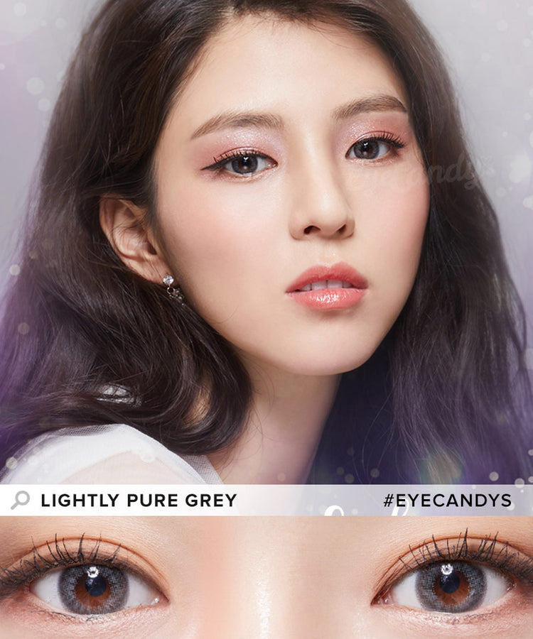 Buy Lenstown Lighly Pure Grey Prescription Colored Contacts | EyeCandys