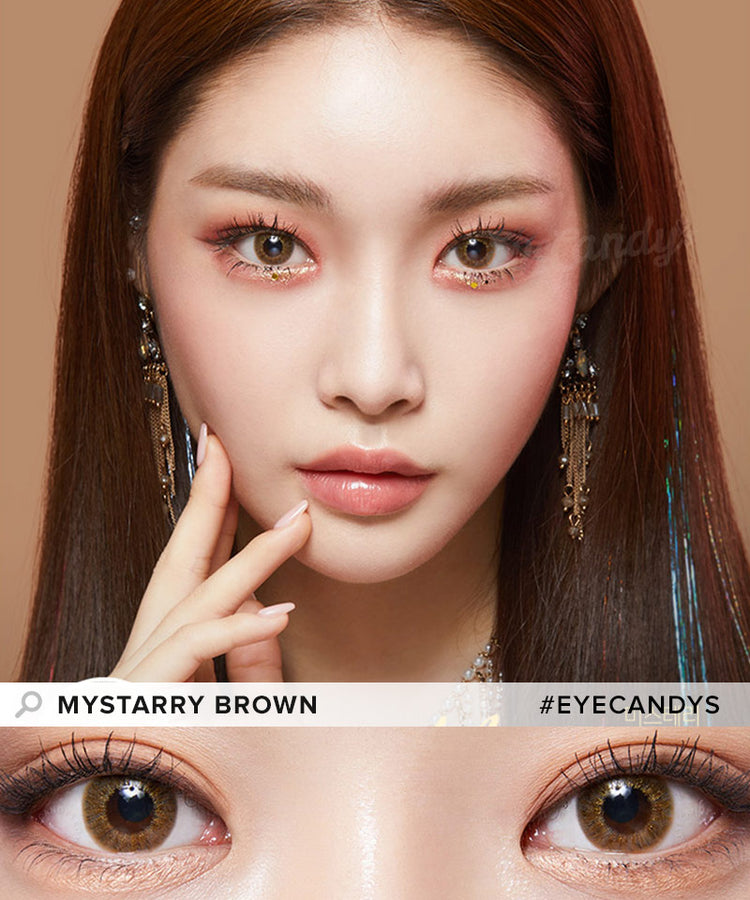Buy Lenstown Mystarry Brown Prescription Colored Contacts | EyeCandys