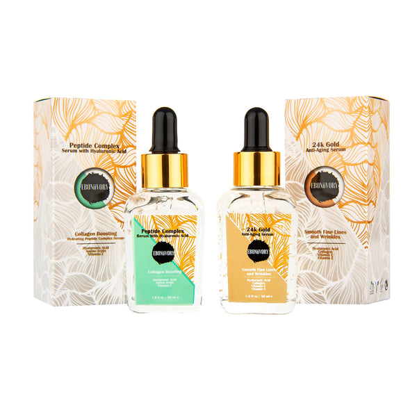 24k gold anti ageing serum and peptide collagen boosting serum