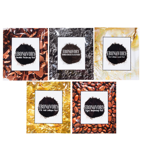 Collagen Gel face masks 5 pack, chocolate, coffee, pearl, 24k gold and bamboo charcoal