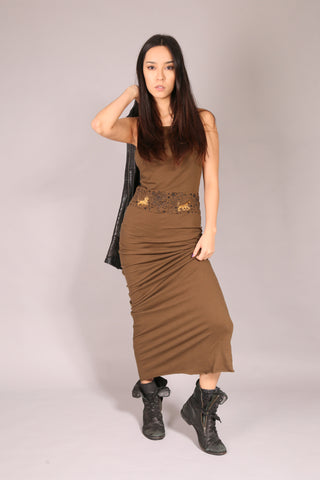 PIN UP SKATE/ Dress long Khaki