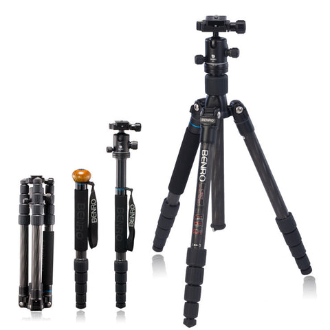 Benro C1692TB0 Travel Angel Carbon Fiber Tripod Monopod Kit (8kg Max. Load, 5 Leg Sections)