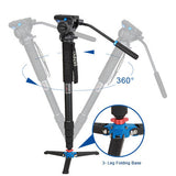 Benro A49TDS4 Aluminum Video Monopod Kit (4kg Max. Load, 5 Leg Sections)