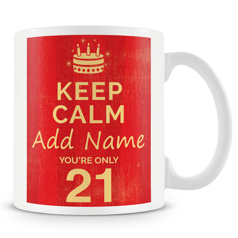 Birthday Personalised Mug With Age 21 Today and Names - Blue