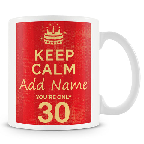 Birthday Personalised Mug With Age 30 Today and Names - Blue